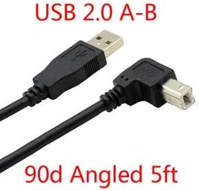 Cables Down Angled 90 Degree USB 2.0 A Male to B Male Printer Scanner HDD Cable 1.5M Cable Length: 1.5m