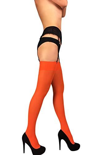 (Thigh High Opaque Stockings (Orange, M))