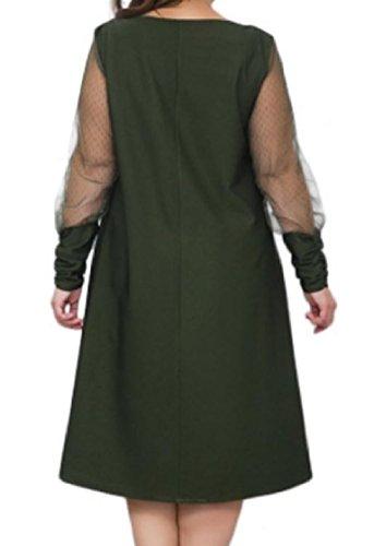 Manicotto Più Nerastro Abito Giuntura Puro Colore Maglia Dimensioni Elegante Coolred Tunica donne Verde Lungo xaw1pqIxn