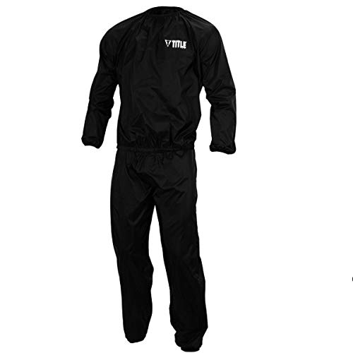 Title Boxing Exceed Nylon Sauna Suit, Black/Silver, Large (Title Sauna Suit)