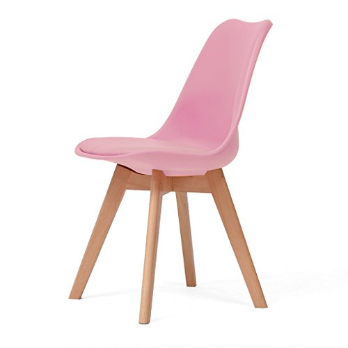 Dining Chairs Patio Seating Patio Office chair stu Solid wood study office chair tables and chairs backrest computer chair home creative Eames chair (Color : Pink) -  Chi Cheng Fang Electronic business