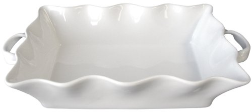 BIA Cordon Bleu Wavy Collection 3-Quart Rectangular Baker with Handles, White