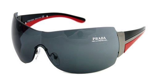 1274dd1f8a36 Image Unavailable. Image not available for. Colour  AUTHENTIC PRADA  SUNGLASSES SPR 54G BLACK RED ...