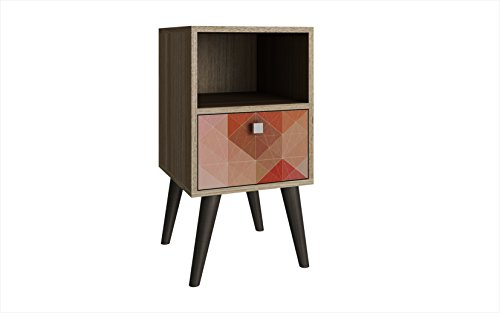 Manhattan Comfort Abisko Collection Mid Century Modern Free Standing 1 Drawer End Table/Side Table, Oak/Stamp/Grey (Table Mendocino)