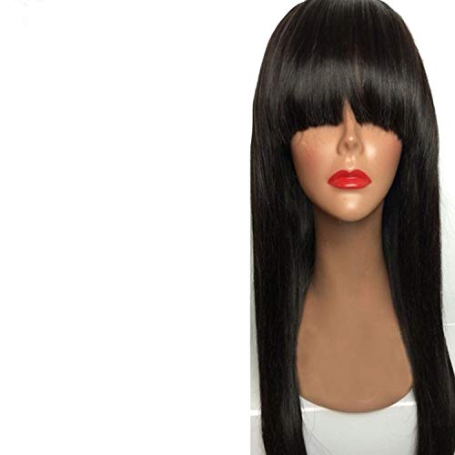 Straight Hair 360 Lace Frontal Wig With Bangs Lace Front Human Hair Wigs For Women Pre Plucked With Baby Hair,20inches,150%,Natural color]()