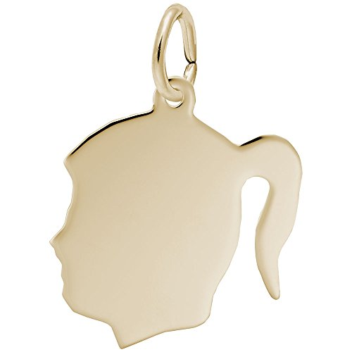 Custom Engraving (up to 18 characters) Rembrandt Charms, Medium Girl Silhouette, 22k Yellow Gold Plated Silver, Engravable