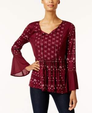 Style & Co. - Blusa de malla con estampado de campana, talla S ...
