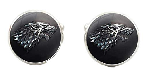 New Horizons Production Game of Thrones Stark Logo Glass Dome Metal Enamel Cuff Links