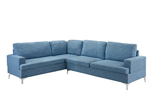 Linen Sectional Sofa, Classic Living Room L-Shape Couch (Light ()