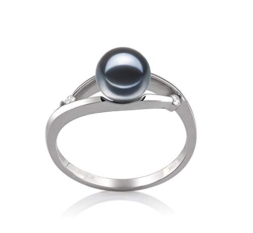 Tanya Black 6-7mm AAAA Quality Freshwater 14K White Gold Cultured Pearl Ring For Women - Size-7 by PearlsOnly (Image #8)