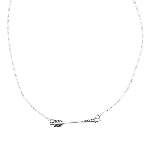 Silver Tone Chain Link Necklace (Trendy Jewels Silver-Tone Sideways Arrow Choker Necklace on 14.5