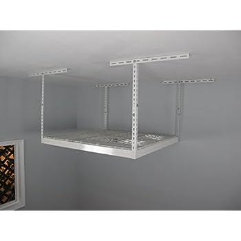 "SafeRacks - Medium Duty 4x4 Overhead Storage Rack (24""-45"" Ceiling Drop) - White with 2 free Hooks"