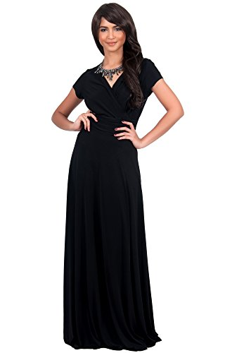 KOH KOH Plus Size Womens Long Sexy Cap Short Sleeve V-neck Flowy Cocktail Gown Maxi Dress, Color Black, Size 2X Large / XXL / 18-20