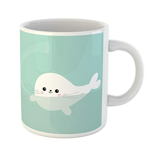 - Emvency Funny Coffee Mug Swimming Floating Harp Baby Seal Pup Cute Cartoon Character Happy Animal 11 Oz Ceramic Coffee Mug Tea Cup Best Gift Or Souvenir