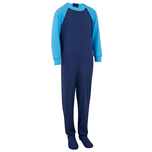 Special Needs Unisex Zip Back Footed Pajamas for Kids - Navy/Turq (15-16 yrs) ()