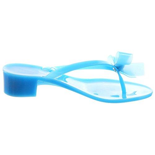 Sopily - Zapatillas de Moda Sandalias Chanclas Chanclas Bota bajas mujer pajarita strass Talón Tacón ancho 3.5 CM - Azul