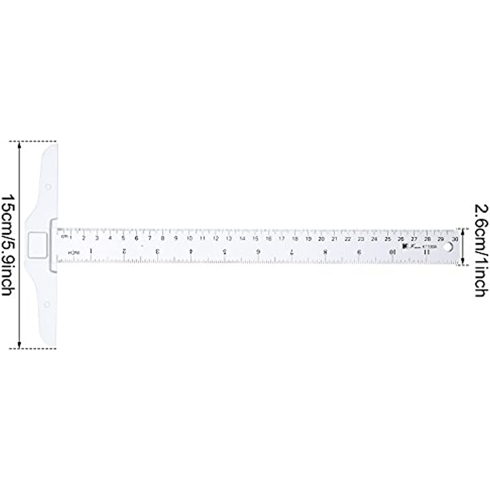 12 Inch//30 cm Junior T-Square Plastic Transparent T-Ruler for Drafting and Work