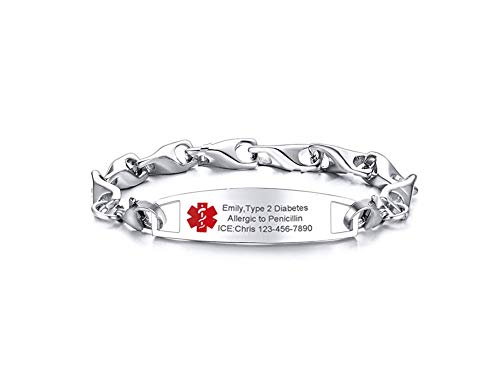 VNOX Custom Engraving Emergency Medical Alert ID Special Link Chain Double Lobster Clasp Stainless Steel Bracelet for Women,Replacement,7.5