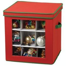 picture of Household Essentials Holiday Ornament Storage Box for 27-Piece, Red with Green Trim