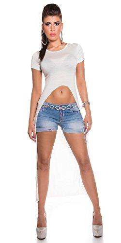 KouCla High Low Shirt - Longshirt bauchfrei in 6 versch. Farben - Damen Top Einheitsgröße (K5071) (Weiss)