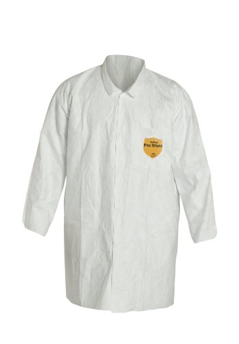 DuPont Tyvek 400 TY212S Disposable Lab Coat with Open Cuff, White, Medium (Pack of 8) by DuPont (Image #1)