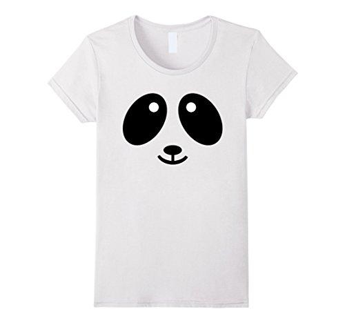 Panda Costume Face (Womens Cute Panda Face Halloween Style Costume T-Shirt Medium White)