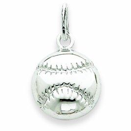 Petits Merveilles D'amour - 14 ct Or Blanc 585/1000 Baseball Pendentif Charm