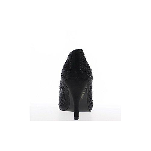 Escarpins femme grande taille noirs satinés à talon de 12cm et plateforme
