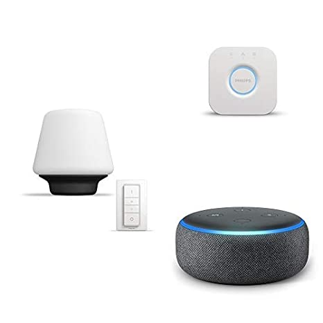 Echo Dot gris antracita + Philips Hue White Ambiance Wellness - Lámpara de mesa LED con