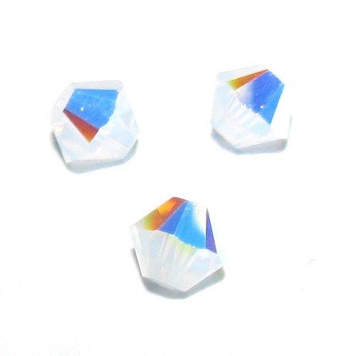 Swarovski 5301 24 Piece (72 pcs Swarovski Crystal 5328 Xilion Bicone Bead Spacer White Opal AB 4mm / Findings / Crystallized Element)