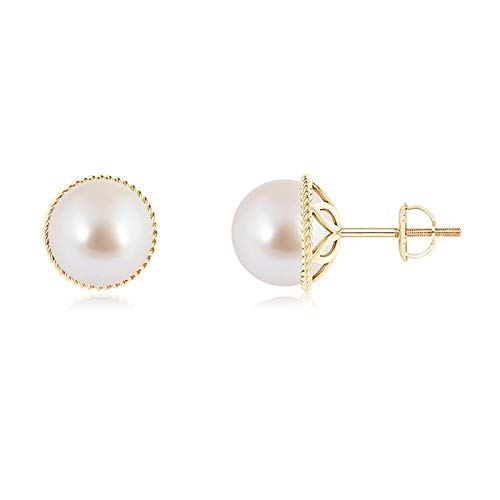 Akoya Cultured Pearl Earrings with Twisted Rope Frame in 14K Yellow Gold (8mm Akoya Cultured Pearl) ()