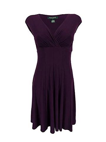 Lauren Ralph Lauren Womens Petites Matte Jersey Pleated Casual Dress Purple 14P - Matte Jersey Surplice