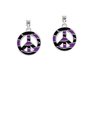 Large Purple Tiger Print Peace Sign Clear Crystal Post Earrings ()