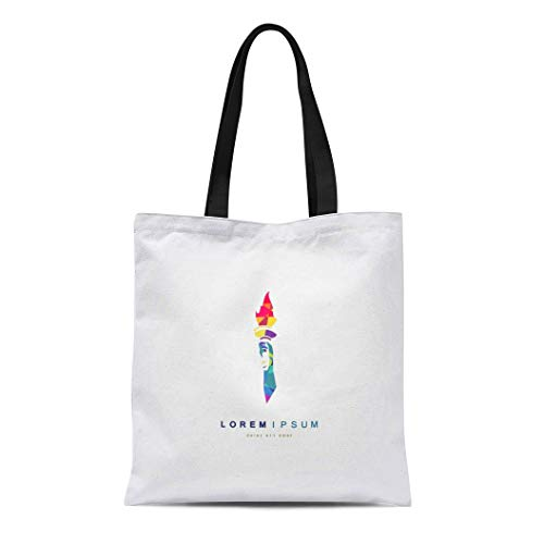 Semtomn Canvas Tote Bag Shoulder Bags Achievement White Flame Torch in Hand Abstract Badge Bright Women's Handle Shoulder Tote Shopper Handbag