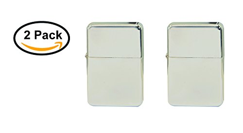 Thirsty Rhino Klik, Windproof Refillable Oil Wick Lighter with Vintage Flip Top and Aluminum Gift Case, Set of 2 (Silver)
