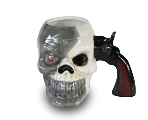 (GF Human Skull 16oz Ceramic Coffee Mug With Gun Handle - Diabolical Bonehead Cup Perfect for Decoration, Gifts and Parties)