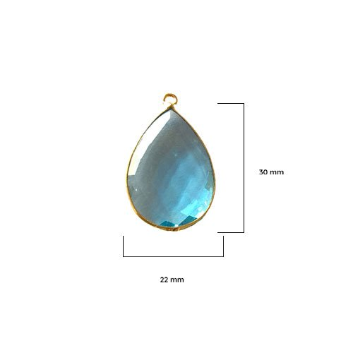 2 Pcs Blue Topaz Pear Beads 22X30mm 24K gold vermeil by BESTINBEADS, Blue Topaz Hydro Quartz Pear Pendant Bezel Gemstone Connectors over 925 sterling silver bezel jewelry making supplies
