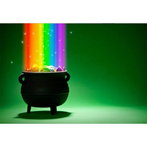 Laeacco 7x5ft Vinyl Magical Glowing Rainbow Vintage Pot of Gold Coins Light Shadow Green Backdrops St.Patrick's Day Background Child Adults Portraits Irish Festival Community Activities Banner -