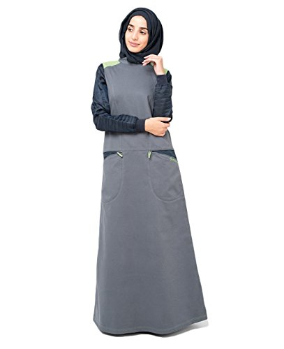 SilkRoute© Playful Pocket Jilbab , EXTRA LOOSE 56 Sporty design, Maxi Summer full sleeve Long Dress sports abaya style