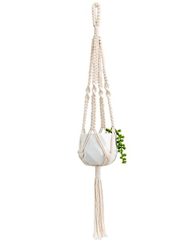 Mkono Small Macrame Hanging Planter with Ceramic Plant Pot 25 Inch by Mkono