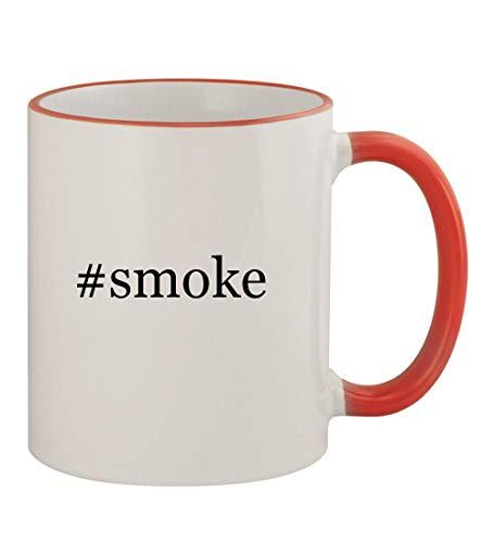 (#smoke - 11oz Hashtag Colored Rim & Handle Sturdy Ceramic Coffee Cup Mug, Red)