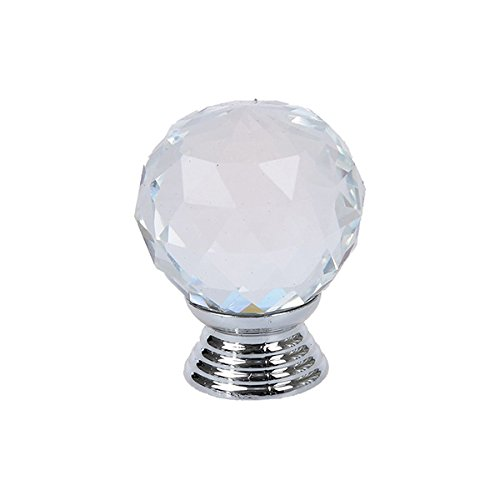 OUNONA 10pcs Crystal Acrylic Glass Diamond Cut Door Knobs Kitchen Cabinet Drawer Knobs with Screw for Home Decorating,30mm