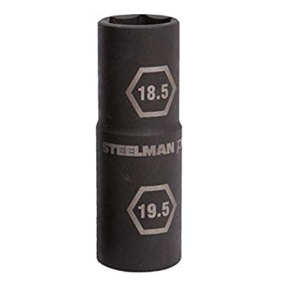 Steelman Pro 1/2-Inch Drive 6-Point Thin Wall 18.5mm x 19.5mm Double Ended Impact Flip Socket, Durable Corrosion-Resistant Steel, Laser-Etched Callouts
