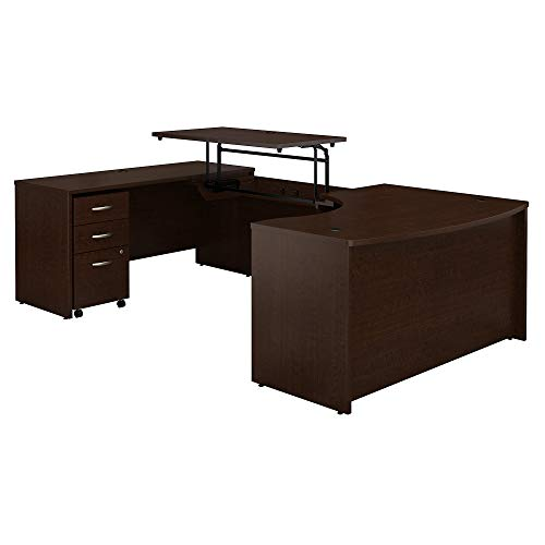 Bush Business Furniture Series C 60W x 43D Left Hand 3 Position Sit to Stand U Shaped Desk with Mobile File Cabinet in Mocha Cherry - Hand U-shaped Office Desk