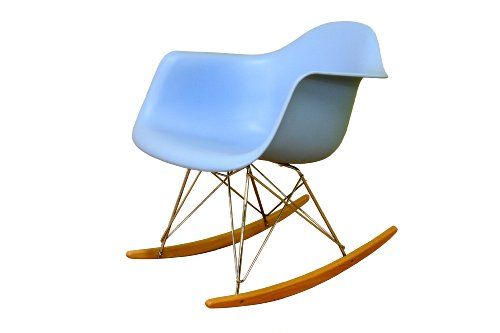 Baxton Studio Cara Sky-Blue Cradle Chair with Ash-Wood Rockers