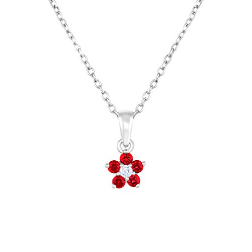 Flower Pendant in Sterling Silver with Simulated Birthstone CZ for Girls with 18
