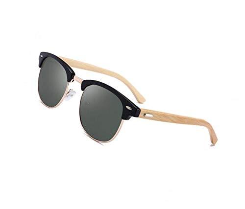 madera conducir sol de Hombres para UV400 Mujeres sol polarizadas de Dark protectoras gafas Gafas FlowerKui Green de Moda Marco CznaX8