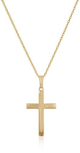 (Adult 14k Gold Filled Polished Embossed Domed Cross Pendant Necklace, 18