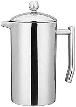 French Press Double Wall Stainless Steel Mirror Finish 1L 34oz. Coffee Tea Maker 18 10 Stainless Steel, Rust-Free, Dishwasher Safe
