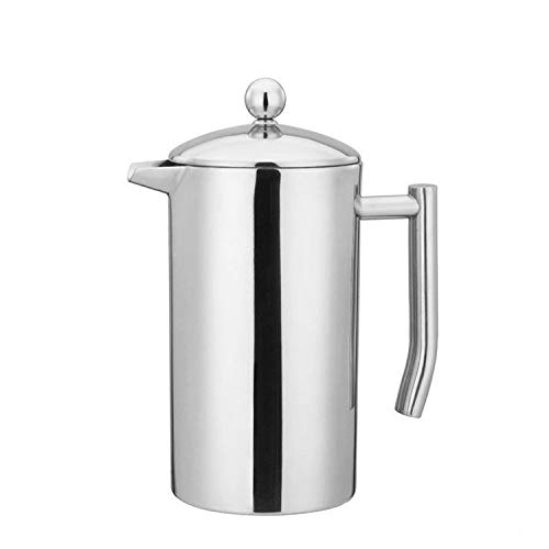 - French Press Double Wall Stainless Steel Mirror Finish (1L/34oz.) Coffee/Tea Maker: 18/10 Stainless Steel, Rust-Free, Dishwasher Safe